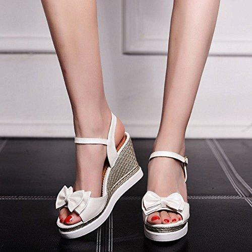 COOLCEPT Femmes Mode Decontractee Orteil ouvert Talon hauts Plate-forme Talon Compensess Ete Sandales Blanc
