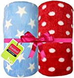 #7: Brandonn BLUE STAR & RED POLKA Wrapping Sheet Cum Baby Blanket for Babies( 75 cm x 98 cm; 0-2 YEAR)