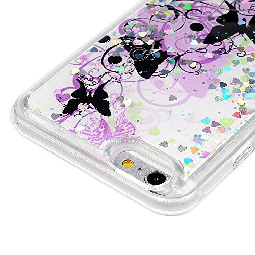 Badalink Housse iPhone 6 Plus / iPhone 6S Plus, Badalink Bling Case Housse de Dégradé de Couleur avec Poudre de Paillettes Coque TPU Silicone Caoutchouc Housse Souple de Protection Etui Flexible Lisse Papillon