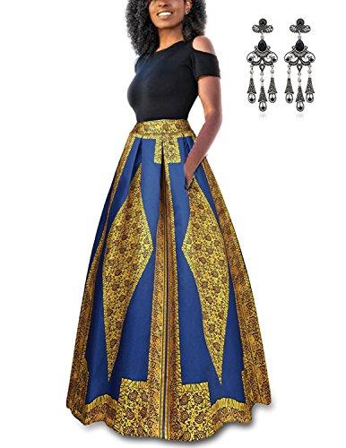 Carinacoco donna vestiti lunghi due pezzi senza spalline manica corta camicetta + rosa stampa gonne lungo elegante vestito maxi da sera (m, oro)
