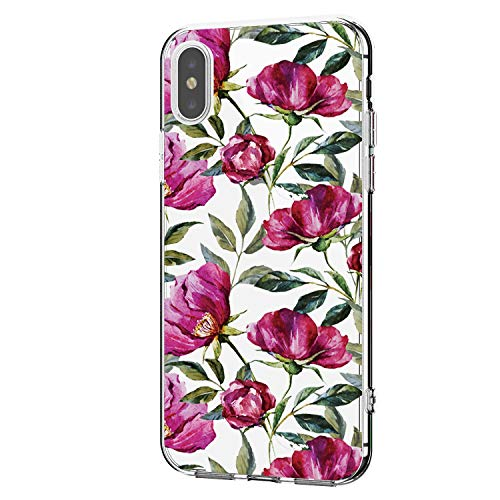 Riyeri Hülle Compatible with Apple iPhone Xs Max Hülle Cover iPhone Xs Handyhülle Schutzhülle Transparent Weich TPU Silikon Case für Apple iPhone Xr Cell Phone - Blume (iPhone Xs Max, 3) (Cell Apple Iphone)