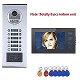 xc-2710 Sistema citofono videocitofonico da 7 Pollici per Appartamento/Famiglia, Campanello Impermeabile con Pulsante a sfioramento, Telecamera RFID IR-Cut HD 1000TVL con 12 Pulsanti / 8 Monitor