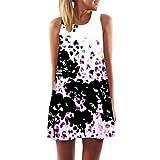 MRULIC Frauen Lose Sommer Weinlese Blumendruck Kurzschluss 3D Bild Minikleid Gerades Kleid mit Schmetterlinge Muster (EU-44/CN-XL, U-Weiß)