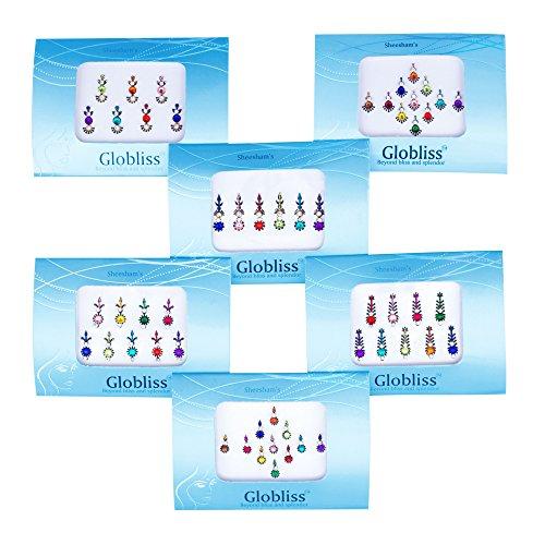 (Globliss 6 Packs Combo Long n Small Third eye Indian Bindis Forehead Sticker Colorful bindis tattoos)