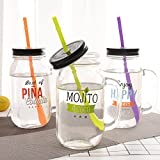 Satyam Kraft (Pack Of 3)( 750ml ) Mocktail Mason Jar With Lid And Straw
