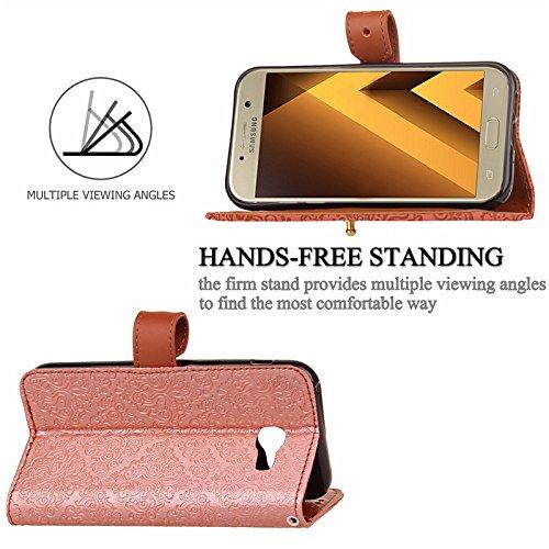 YHUISEN Galaxy J5 Prime Case, Magnetverschluss European Style Wandgemälde prägeartig PU Leder Flip Wallet Fall mit Stand und Card Slot für Samsung Galaxy J5 Prime / On5 2016 ( Color : Rose Gold ) Gray