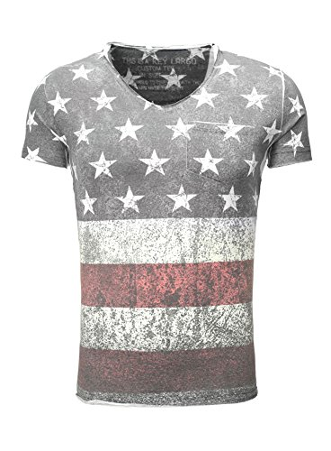 Key Largo Herren T-Shirt BORN Vintage Look USA Fullprint Amerika Slim Fit Schnitt V-Neck verwaschen bedruckt Printshirt Sommershirt mit Brusttasche anthrazit XL