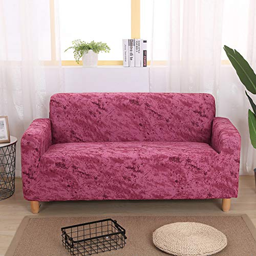 Volltonfarbe Sofabezug,Stretch Staub-Beweis Couch-Abdeckung Mode Möbel Protektor Sofa Slipcover Für 1 2 3 4 Kissen Couch-rosa Liebe Sitze