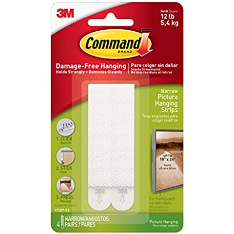 3M 17207 Command Narrow Picture Hanging Strips