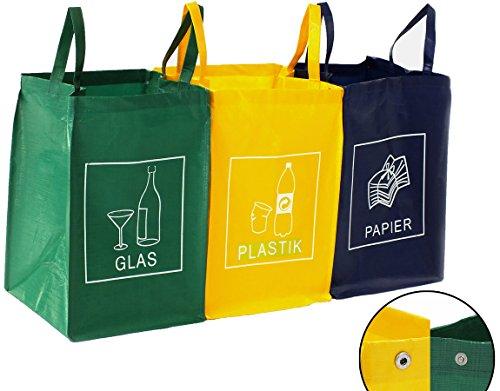 Contenitore 3 scomparti ricicla bag | vetro, plastica e carta