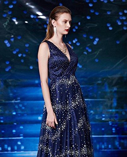 Beauty-Emily Paillette Doppel-V-Ausschnitt ärmel Stern Tüll Abendkleid Marine