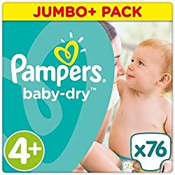 Pampers Baby Dry Taille 4+ Jumbo + Lot 76couches