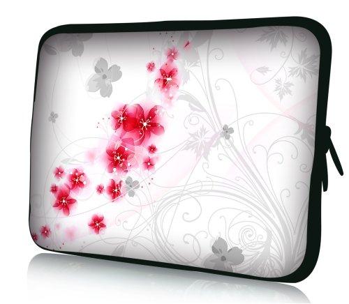 wortek Universal Notebook Tasche aus Neopren für Notebooks bis ca. 17,3 Zoll - Blumen Ranke Weiß Rot