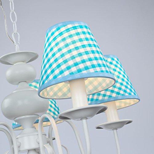 Neue Kronleuchter einfachen Tuch schöne Beleuchtung Rauch blaue LED Junge Doppellampenschlafzimmerlampe hängen - 5