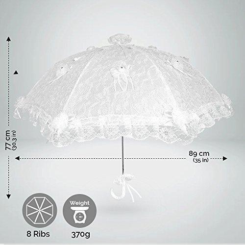 0d2de7ec87de Ombrello da Sposa Bianco in Pizzo - Ombrello per Matrimonio e Cerimonia  impreziosito con Fiocchi e