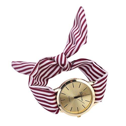 HUIHUI Uhren Damen, Geflochten Armbanduhren Günstige Uhren Wasserdicht Casual Streifen Blumentuch Quarz Vorwahlknopf Armband Armbanduhr Armband Coole Uhren (Weinrot)