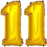 DekoRex® Folienballon Zahlenballon Luftballon Geburtstag Deko 80cm Zahl Gold 11