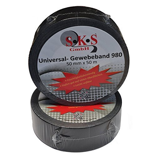 SKS 980 Universal Gewebeband Schwarz 50mm x 50m Steinband Panzerband