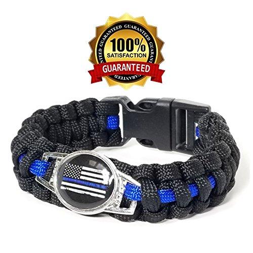 Police thin Blue Line Paracord Bracelet*skull*law Enforcement Fine Workmanship Buckles & Hooks