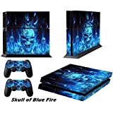 DOTBUY Ps4 Playstation 4 Consola Design Foils Vinyl Skin Sticker Decal Pegatina And 2 Dualshock Controlador Skins Set (Blue Fire Skull)