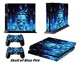 DOTBUY PS4 Skin Aufkleber Sticker Design Folie schützende Haut Schale für Sony Playstation 4 Konsole und 2 Dualshock Controller (Blue Fire Skull)