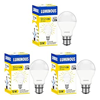 Luminous Shine Eco Base B22 9-Watt LED Bulb (Pack of 3, Cool Day Light)