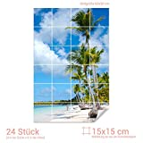Graz Design 761139_15x15_60 Fliesenaufkleber Strand mit Palmen für Kacheln | Bad-Fliesen mit Folie überkleben (Fliesenmaß: 15x15cm (BxH)//Bild: 60x90cm (BxH))