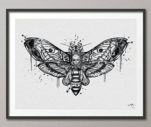 COCOMILLA Tote Head Hawk Moth Watercolor Art Print Totem-Tier-Wandsticker mit Kunst-Wand-Dekor Wand Gothic Deko [kein 836, Mittel, schwarz/weiß, 11.70 x 16.55