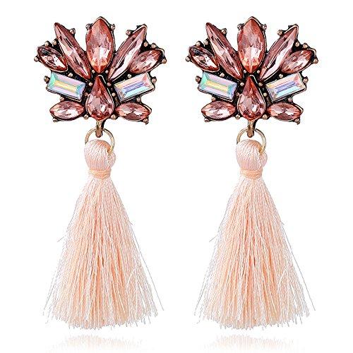 YAZILIND lange Quaste baumeln Ohrringe Mode Strass Boho Schmuck (pink)