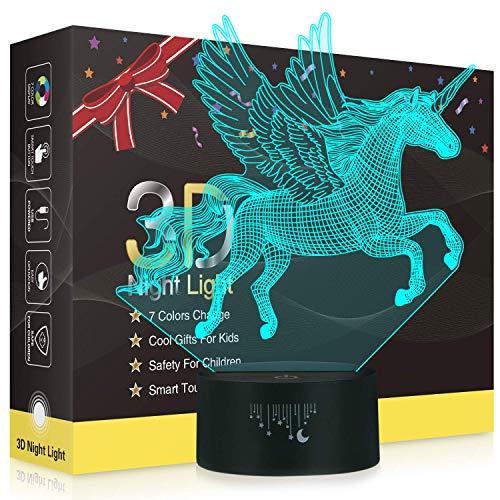 Xdorra Flying Unicorn 3D Luces nocturnas, lámpara LED para niños, 7 colores Toque mesa Lámparas de escritorio Unicornio Regalo para niñas