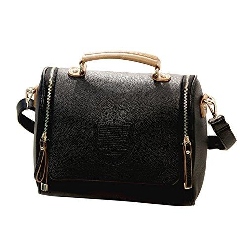 Preisvergleich Produktbild Frauen Mädchen PU Leder Schultertasche Handtasche Crossbody Taschen Beutel schwarz