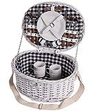 Picknick Korb komplett Porzellan Geschirr 2 Personen Weidenkorb Picknickkorb Weidenholz Weidenpicknickkorb Picknickset (LYP1561)