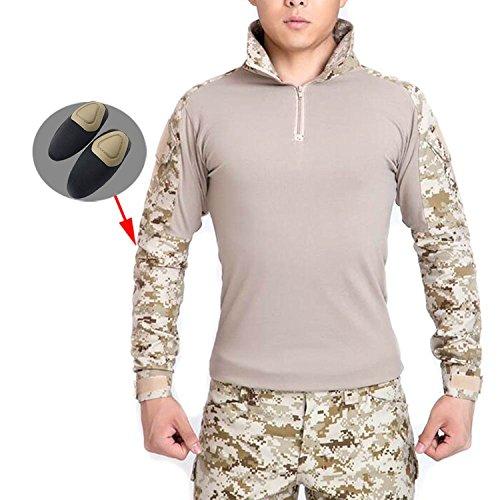 ATAIRSOFT männer BDU Combat Langarm Tarnhemd Mit Ellbogenschutz Schutz für Militärische Armee Airsoft AOR1 L - Militärische Bdu Shirt