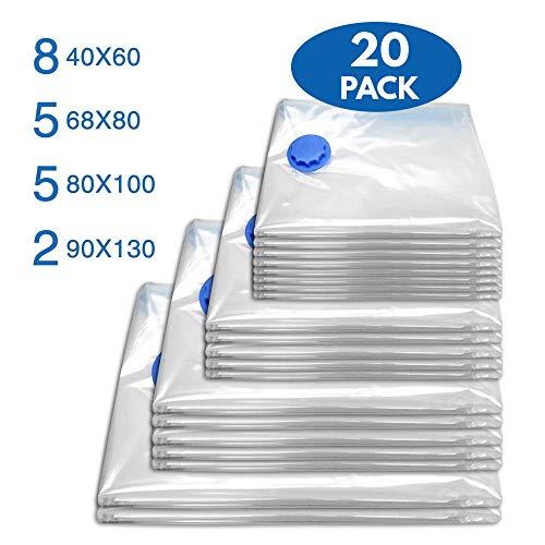 Bramble premium - 20 sacchetti sottovuoto salvaspazio = risparmio per aspirapolvere e folletto resistenti ideali per abiti vestiti piumoni coperte e cuscini. 4 misure differenti, inclusi 2 sacchetti giganti. (set deluxe da 20 pezzi)