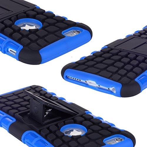 iPhone 6S/6étui, wisdompro® [2pièces en 1] Double Couches [Ultra] rigide hybride souple robuste Étui de protection avec pied pliant pour Apple iPhone 4,76S/6 bleu/noir