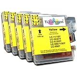5x Brother DCP 195 C kompatible Premium XL Druckerpatronen in Gelb. Sehr gute Laufleistung und Preiswert!