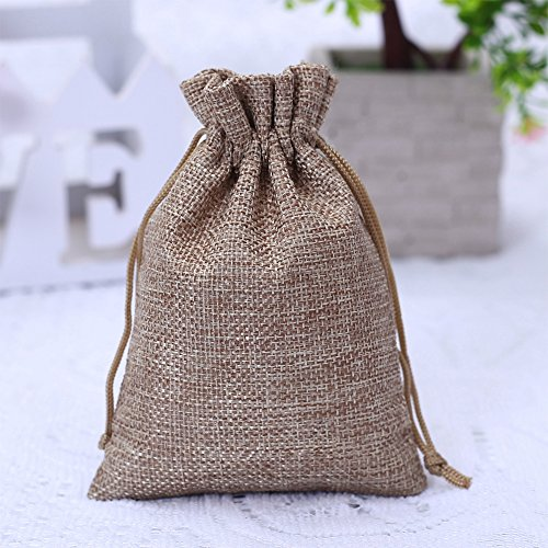 50PCS 9X12CM Burlap Bags with Drawstring Gift Jute bags Included Cotton Lining (Natural)
