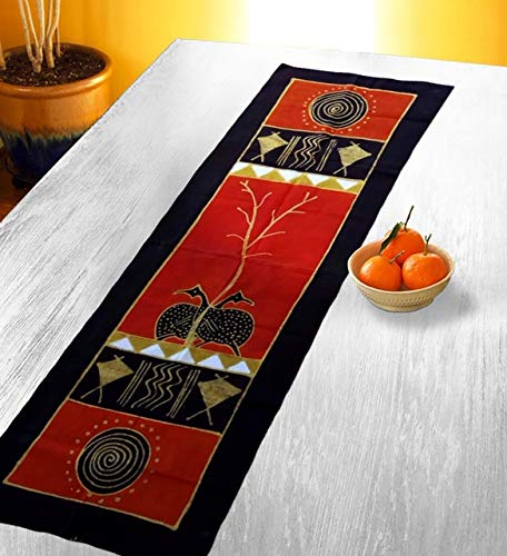 Tischläufer mit Schildkröten, einzigartige Bunte Tischdekoration, Wandkunst-Designs, 100% Baumwolle, Batik-Leinwand 62,50 x 81,3 cm Art Deco 62.50 X 32 Inces Black Red Gold White