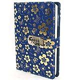 Journal Notizbuch Tagebuch mit Schloss Schöne Blume PU Leder Cover Writing...