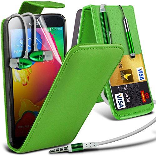 Samsung Galaxy S5 Neo hülle Tasche (Grün + Kopfhörer) Slim-Fit-Abdeckung für Samsung-Galaxie-S5 Neo-hülle Tasche Haltbarer S Linie Wellen-Gel-Kasten-Haut-Abdeckung + mit Aluminium Earbud Kopfhörer, Po Leather Flip + Earphone ( Green )