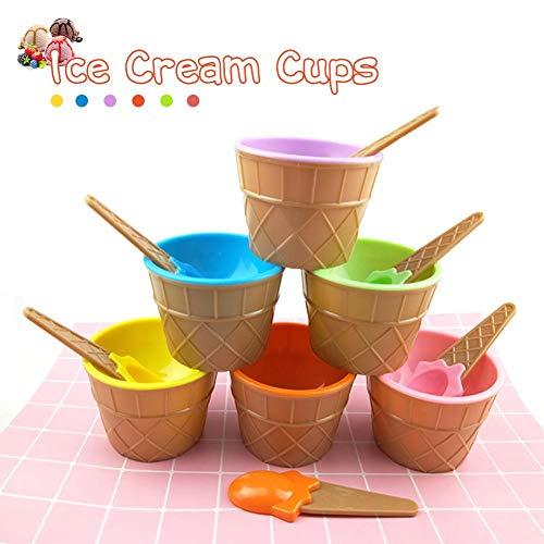 6 stücke Kunststoff Eisbecher und Löffel, Kinder Eis Gefrorene Joghurtbecher Dessertschalen Mit Löffel, Verschiedene Farben
