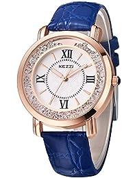 Inwet Cristal Mujer Reloj Analógico de Cuarzo con Blanco Dial,Azul Cuero Correa
