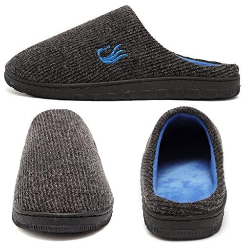welltree Pantofole da Uomo Bicolore Memory Foam Suola Warm w / Scarpe da All'aperto Interno DarkGray/Blue
