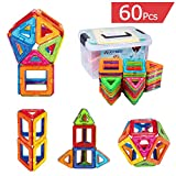 Magnetic Building Blocks, AUGYMER 60 Pcs Kids Magnetic Creativity Educational Construction Set Toys for Toddlers Gifts, Instruction Booklet and Storage Box Included