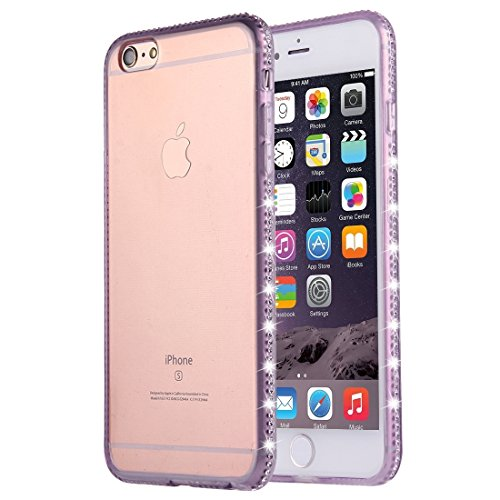JING Pour iPhone 6 / 6s, Diamond Encrusted TPU Protective Back Case ( Color : Green ) Purple