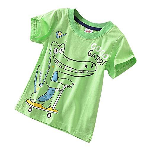 JUTOO Kleinkind Kinder Baby Jungen mädchen Kleidung Kurzarm spaß niedlich Cartoon Druck Tops t-Shirt Bluse (Grün 1,120)