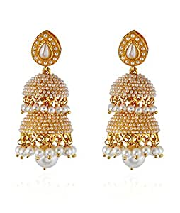 Royal Bling Bollywood Inspired Fancy Party Wear Traditional Jewellry two Tier Jhumki/Jhumka Earrings For Girls & Women