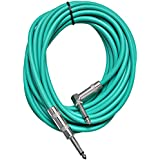 Seismic Audio SAGC20R-Green Green 20-Feet Right Angle to Straight Guitar Cable