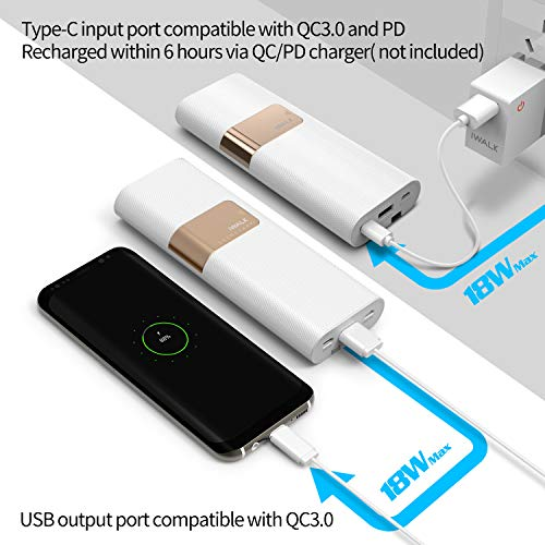 iwalk 20000mah  iWalk 20000mAh con Type C & Micro USB Cavi Batteria Esterna Quick ...