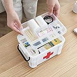 YHLVE Haushalt Tragbare Medizin Box, Kunststoff 2Layer Gesundheit Erste Hilfe Fall Aufbewahrungsbox